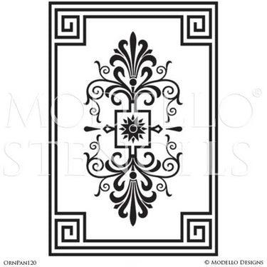 Art Deco Design and Painted Decor - Large Wall Panel Mural Stencils from Modello Custom Stencils