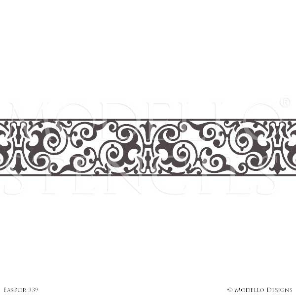 Exotic and Global Chic Decor Idea - Painted Border Stencils from Modello Custom Stencils