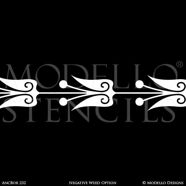 Vintage European Designs Painted on Decorative Wall Borders - Large Modello Custom Stencils
