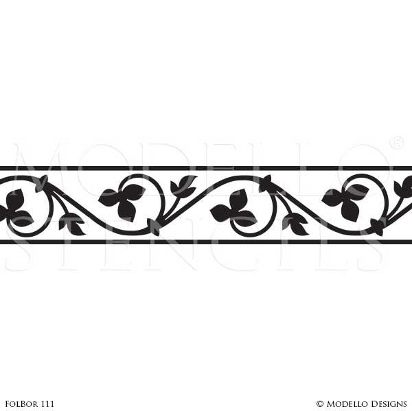Adhesive Wall Border Stencils with Decorative Designs for Painting - Modello Custom Stencils