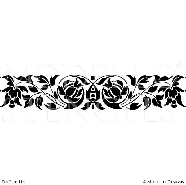 Painted Ceiling Borders Stencils for Designer Decor - Modello Custom Stencils