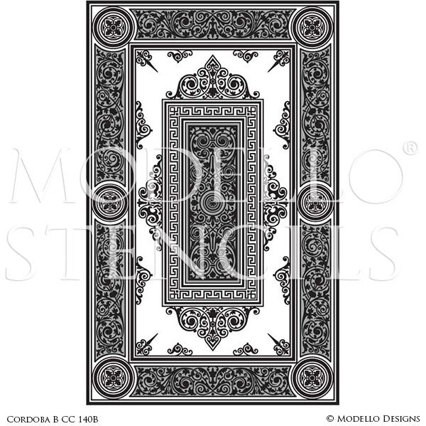 Decorating Floors and Ceilings with Large Designer Carpet Panel Stencils - Modello Custom Stencils