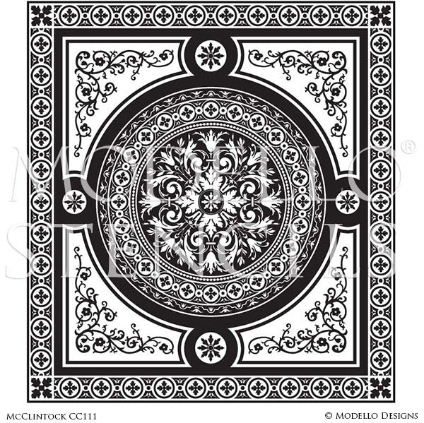 Large Faux Carpet Floor Stencils for Decorative Painting - Modello Stencils