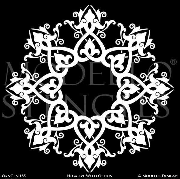 Old World and European Design and Decor - Large Medallion Ceiling Stencils - Modello Custom Stencils