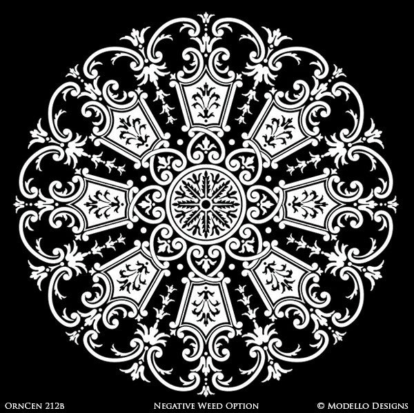 Designer Stencils with Painted Ceiling Decor - Custom Stencils with Mandala Medallion Shapes