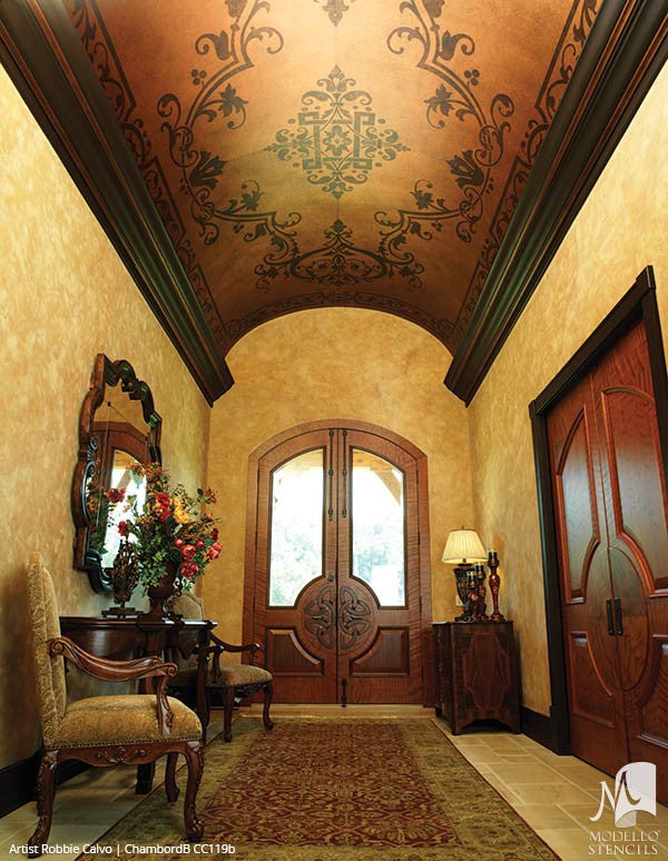 Decorating Ceilings with Designer Custom Stencils and Large Panel Designs