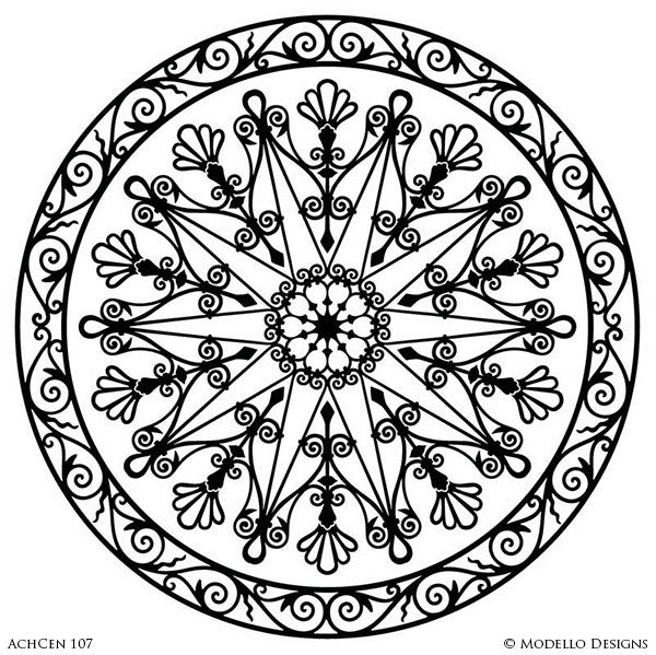 Modern Circle Medallion Stencils for Stenciled Concrete Floors and Painted Ceiling Designs - Architectural Interior Design