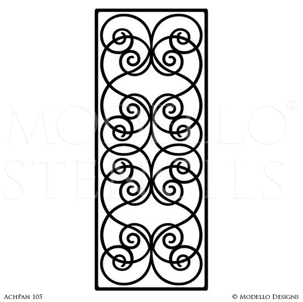 Custom Cut Stencils for Painting Wall Panels with Large Patterns - Modello Custom Self Adhesive Stenciling