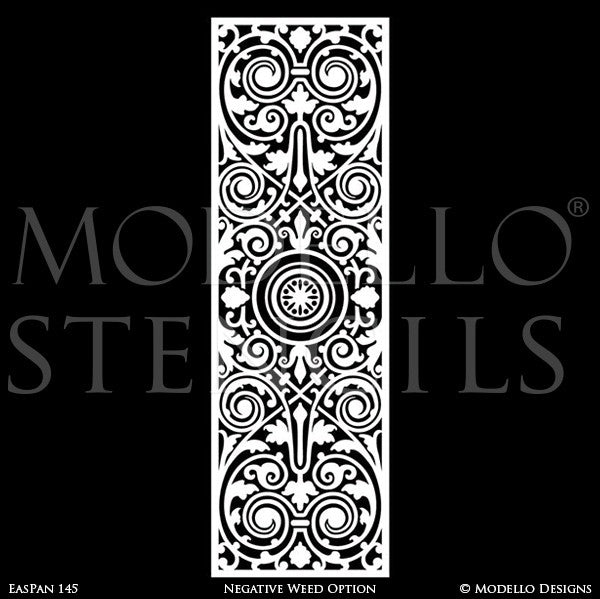Asian Inspired Home Decor and Large Wall Panel Stencils for Painting Antique Mirrors, Doors, Windows - Modello Custom Stencils Designs
