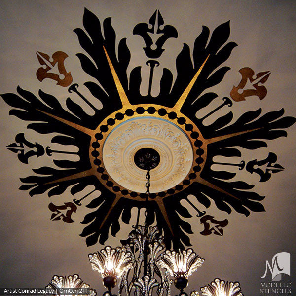 Large Adhesive Patterns Stenciled on Ceiling Medallion Decor - Custom Modello Stencils
