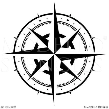 Large Compass Decor Painted and Stenciled on Wall Art or Floor - Modello Custom Stencils