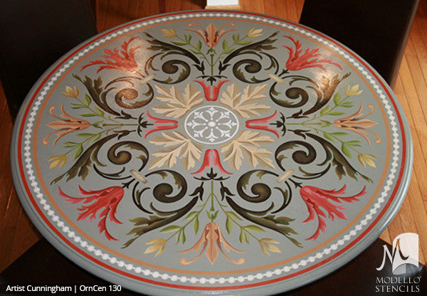 Custom Painted Furniture with Colorful Medallion Stencils