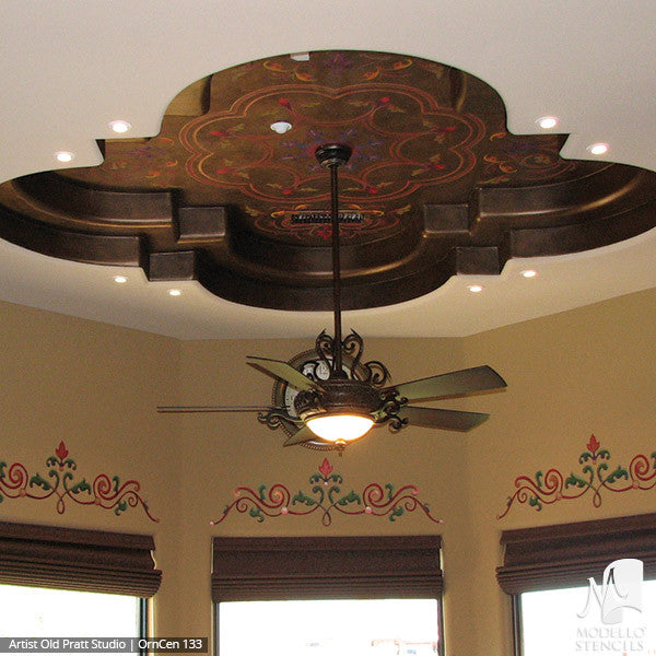 Stenciling and Painting Ceilings Designs with Ornamental Medallion Wall Designs - Modello Custom Vinyl Stencils