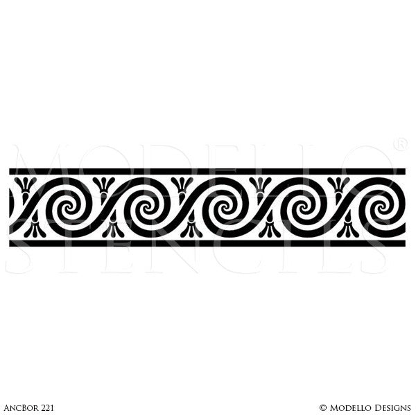 Classic European Border Stencils for Painting Walls and Furniture - Modello Custom Stencils