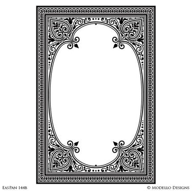 Moroccan Stained Antique Mirror Window Panel Stencils for Decorative Painting - Modello Custom Stencils