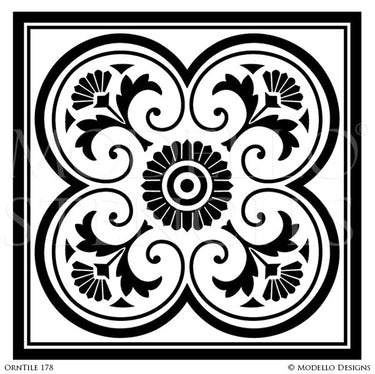 Old World and European Design and Decor - Large Tile Stencils - Modello Custom Stencils for Decorative Concrete