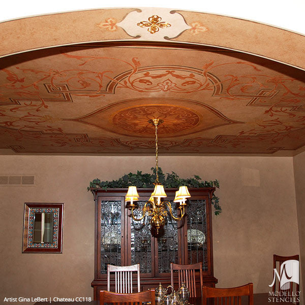 Large Adhesive Patterns Stenciled on Ceiling Decor - Custom Medallion Stencils