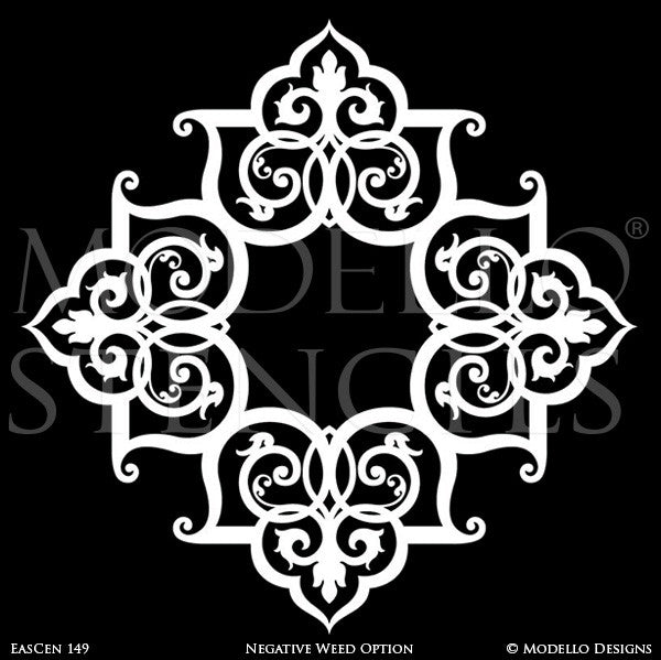 Exotic and Global Chic Decor Idea - Wall Mural or Painted Grand Ceiling Medallion Stencils from Modello Custom Stencils