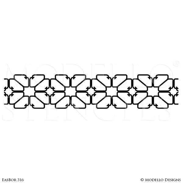 Boho Chic Wall Art Stencils - Border Designs on Wall or Ceiling - Royal Design Studio