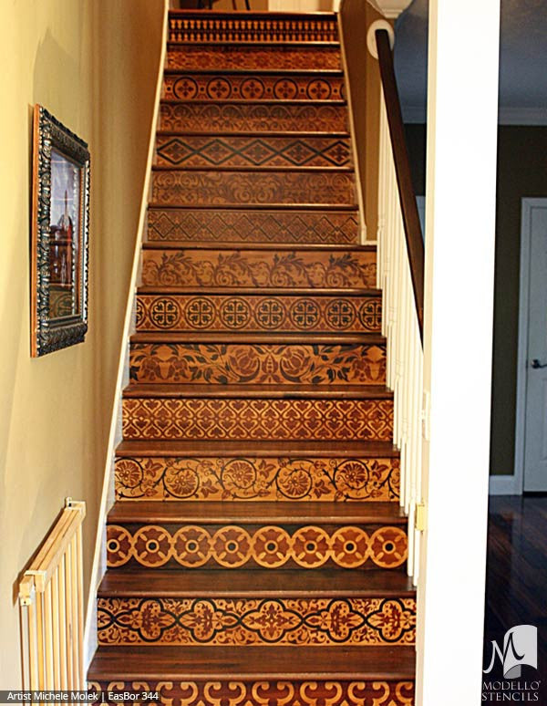 Painted Stairs Stencils with Boho Asian Border Designs - Modello Custom Stenciling
