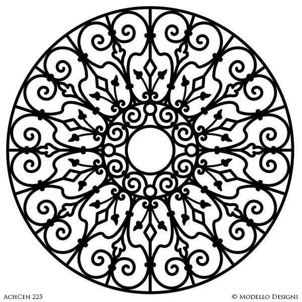 Architectural Design and Decor with Large Circle Medallion Stencils - Modello Custom Stencils for Painting Walls and Ceilings