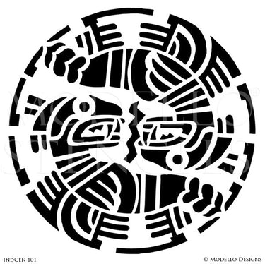 African Tribal Interior Design - Custom Wall Mural Medallion Stencils