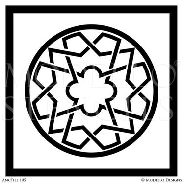 Geometric Circle Design - Large Tile Stencils for Painted Decor - Modello Custom Stencils