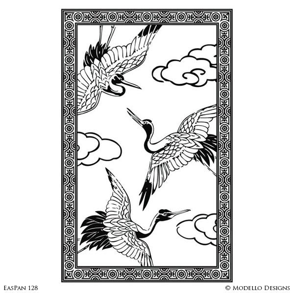 Decorative Painting Wall Finish - Crane Bird Asian Wall Art Graphics Stencils - Modello Custom Designs
