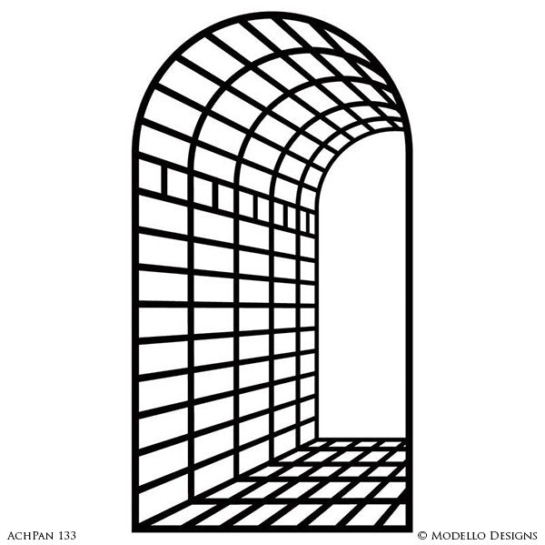 Large Archway Panel Wall Art Graphics Stencils for Decorative Painting - Modello Custom Stencils