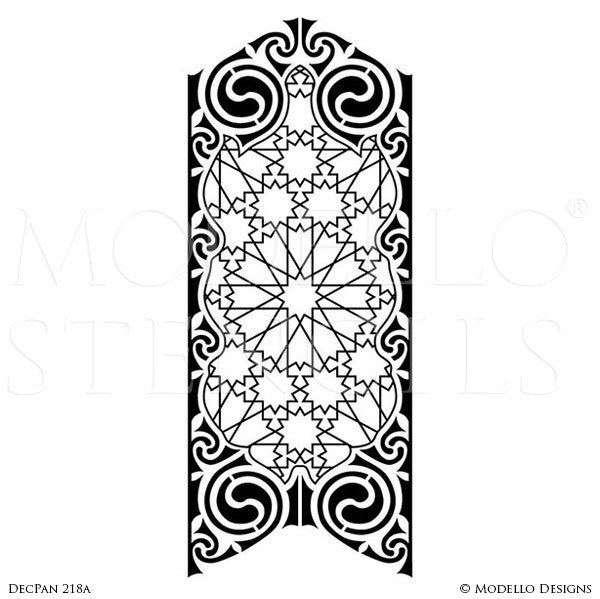 Art Deco Design Geometric Pattern - Large Wall Panel Stencils - Modello Custom Stenciling