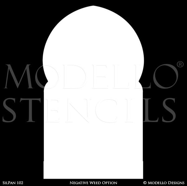 Large Moroccan Archway Panel Wall Art Graphics Stencils for Decorative Painting - Modello Custom Stencils