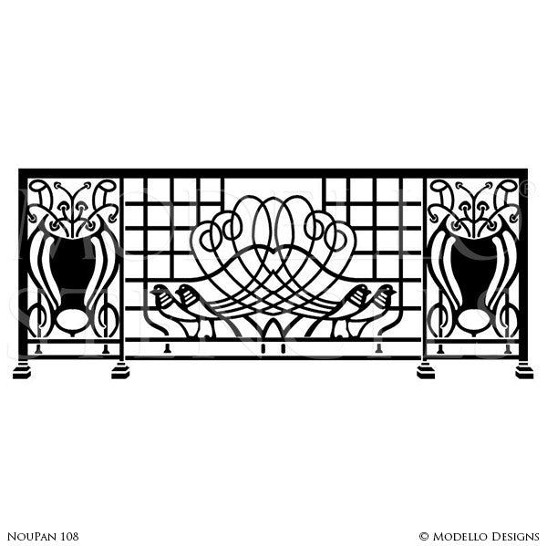 Art Nouveau Decor and Painted Wall Mural Stencils - Modello Custom Stencils