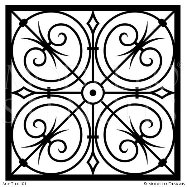 Modello Custom Stencils - Painted Faux Tile Stencils for Stenciling Decor - Royal Design Studio