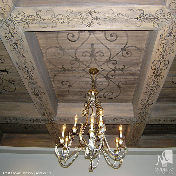 Grand Ceiling Panel Stencils With Ornate Designs And European Style Interior Decor