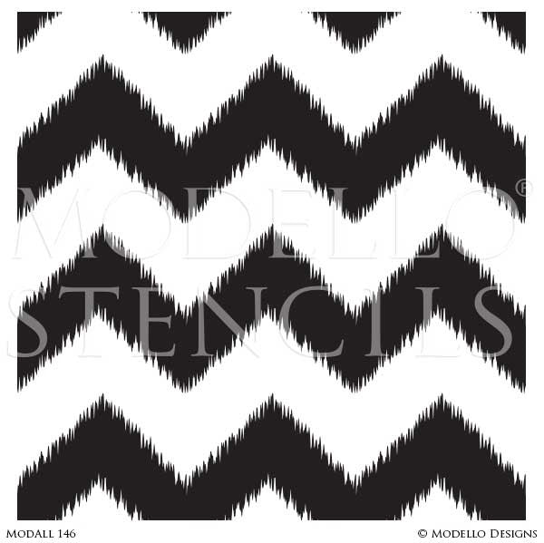 Ikat Chevron Tribal Wallpaper Wall Stencils or Painted Floor Stencils - Modello Designs