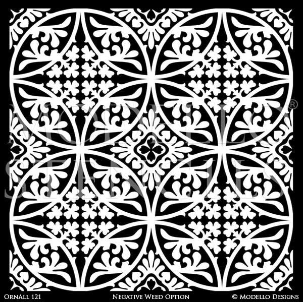Painted Ceiling Wall Floor Tile Stencils with Classic European Style - Modello Custom Stencils