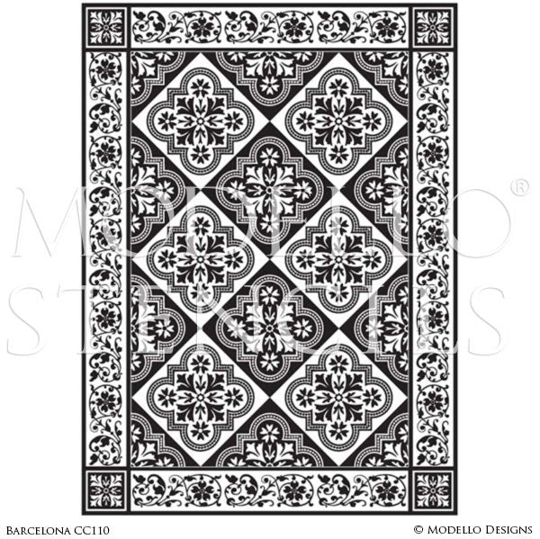 Classic European and Spanish Tile - Large Adhesive Patterns Stenciled on Faux Carpet Rug Floor or Ceiling - Custom Modello Stencils