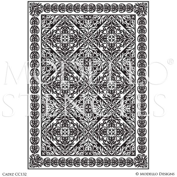 Classic European Spanish Decorative Concrete Floor Rug Carpet Stencils - Modello Custom Stencils