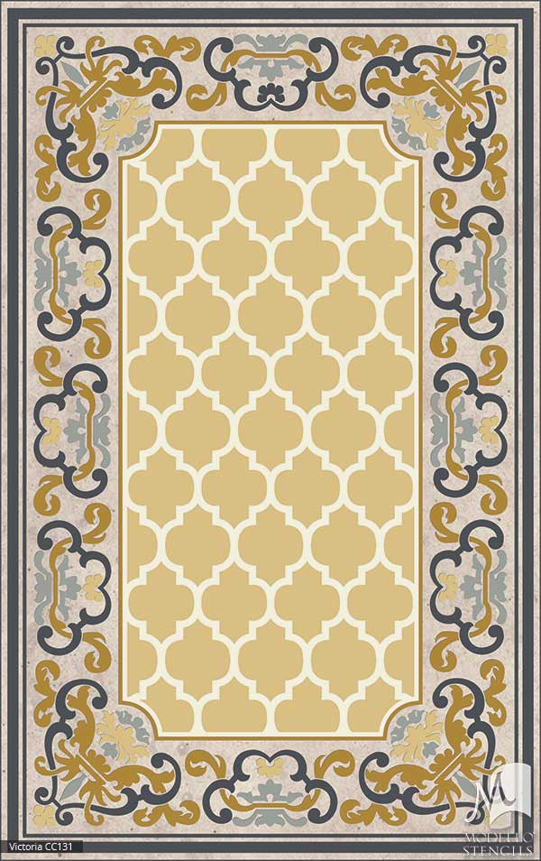 Classic European Carpet Floor Stencils for Painting Custom Victorian Style Home Decor