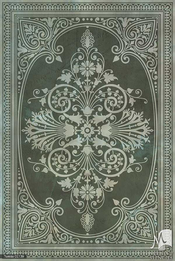 Old World and European Design and Decor - Large Adhesvie Concrete Floor Carpet Stencils - Modello Custom Stencils