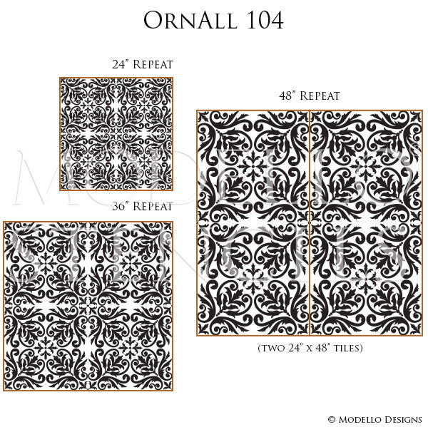 Decorative Tile Stencils for Painting Walls with Designer Wallpaper Look - Modello Custom Stencils