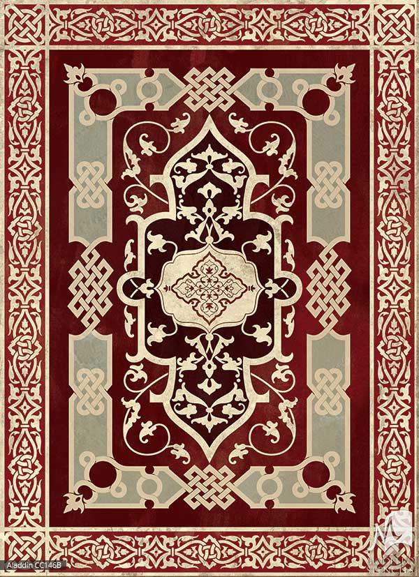 Layered Painted Designs Decorate Concrete Floor Carpet Panel Stencils - Modello Custom Stencils
