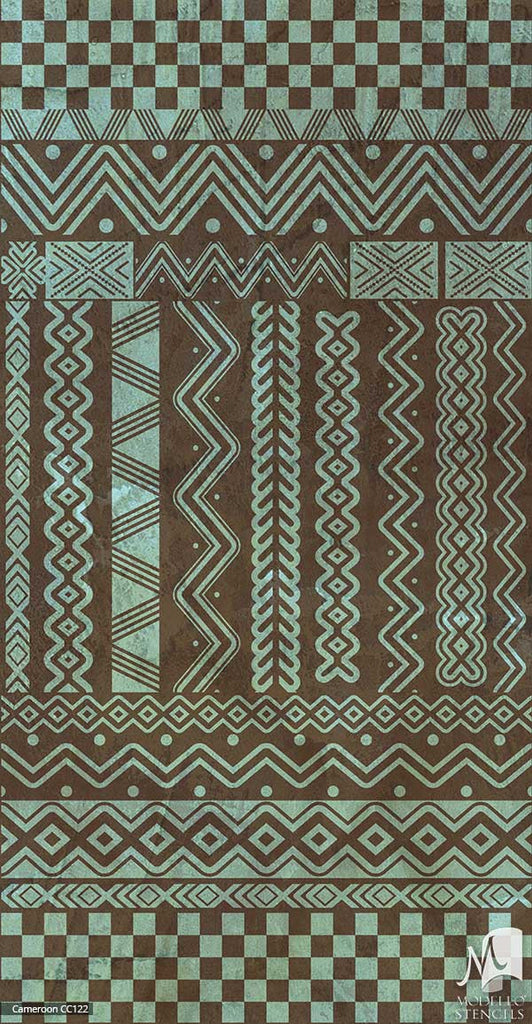 Geometric African Tribal Interior Decor - Modello Custom Carpet Floor Panel Stencils