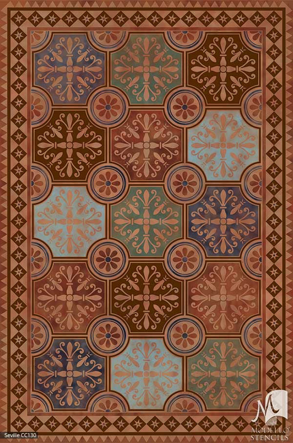 European Spanish Geometric Tile Patterns Painted on Floors and Ceilings - Modello Custom Carpet Panel Stencils