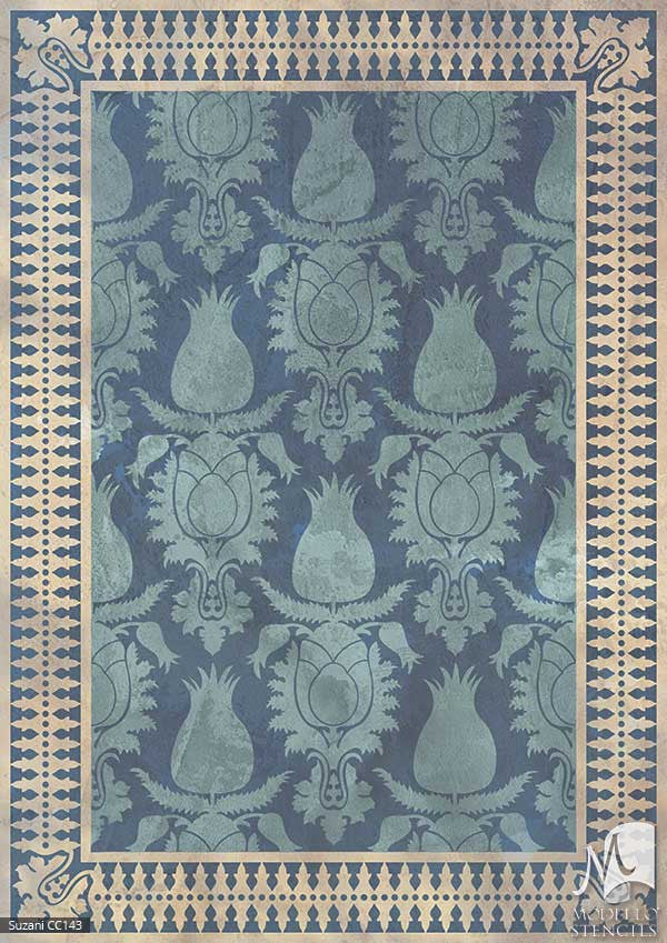 Moroccan, Asian, Indian Patterns and Decor Ideas and Exotic Interiors - Custom Floor Designs and Painted Carpet Stencils - Modello Custom Stencils