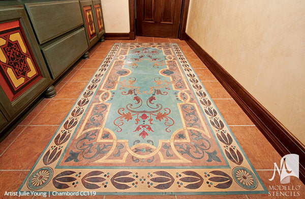 Decorative Concrete Stencils and Floor Carpet Rug Designs - Modello Custom Stencils