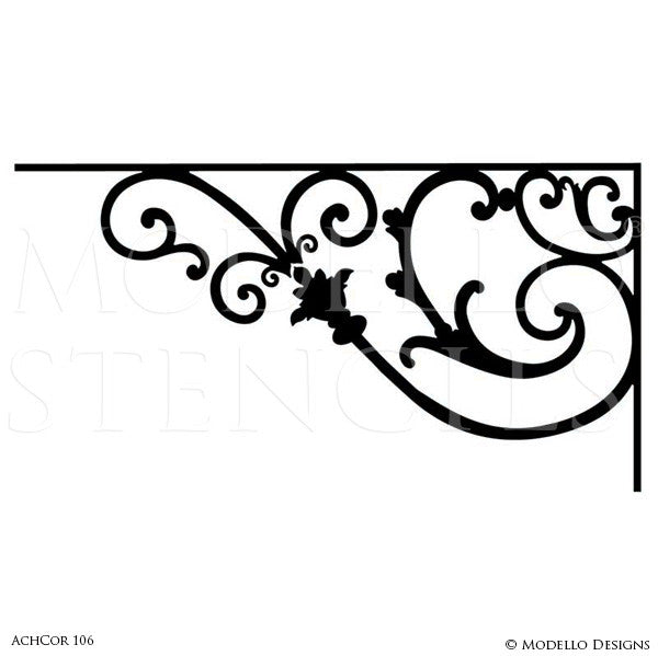 Peel and Stick Adhesive Architechural Wall Corner Stencils for Painting - Modello Custom Stencils