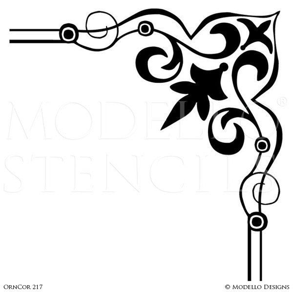 Peel and Stick Adhesive Art Deco Wall Corner Stencils for Painting - Modello Custom Stencils