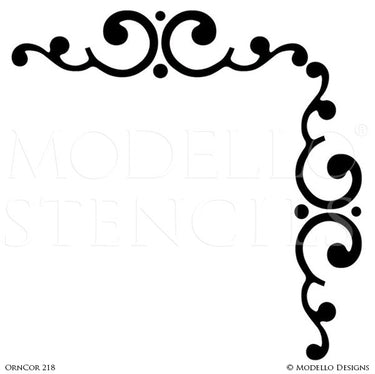 Peel and Stick Adhesive Corner Stencils for Painting - Modello Custom Stencils
