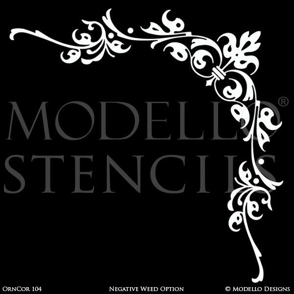 Ornamental and Decorative Wall Art Stencils - Modello Custom Designer Ceiling Corner Stencils